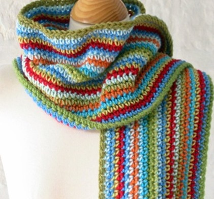 Free Crochet Pattern Striped Scarf : The Sunroom UK: Unisex Stripes Crochet Scarf