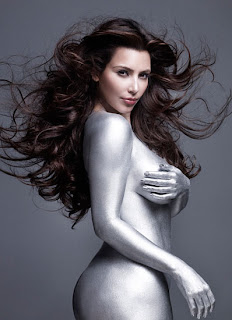 Kardashian Silver Paint Pictures on Women And Beauty Blog   Kim Kardashian Silver Paint Photo Shoot