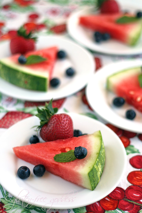 Vegan and easy watermelon slices with summer fruit for dessert