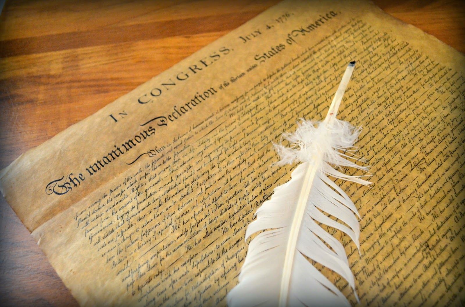 Declaration of Independence with feather