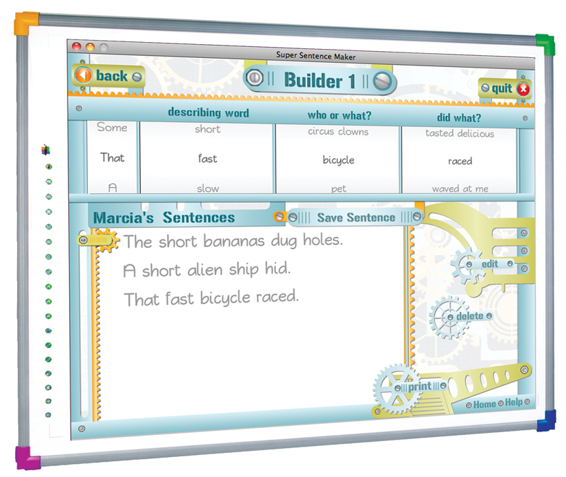 This courseware was broken down into three sections: builders