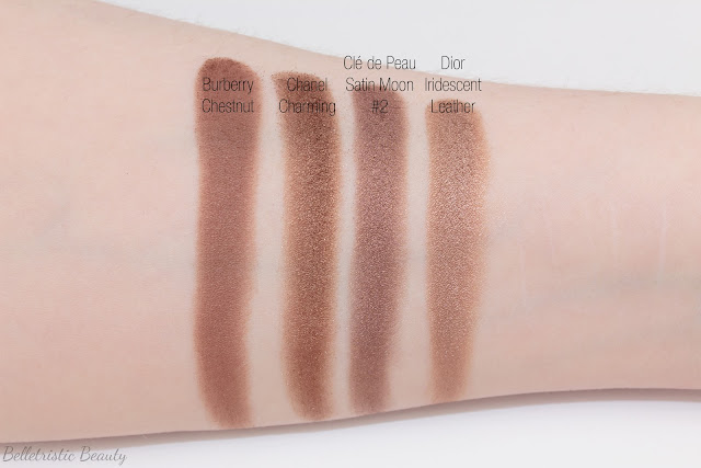 Clé de Peau Beauté CdP Satin Moon 305 comparison swatches for Shade #2 Eye Color Quad Refill Case Celestial Radiance Fall 2014 in studio lighting with forced flash