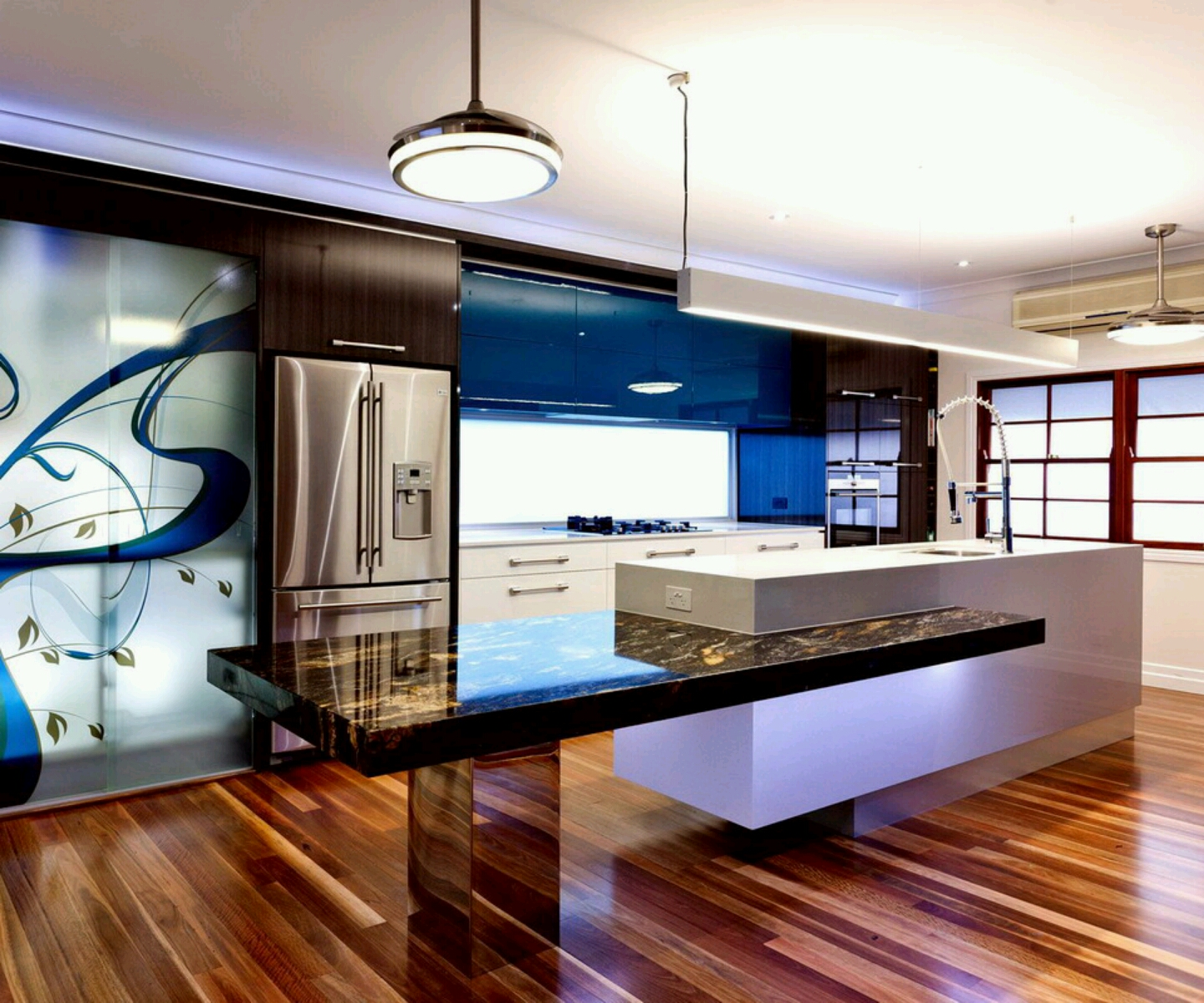 New home designs latest ultra modern kitchen designs ideas for Latest kitchen island designs