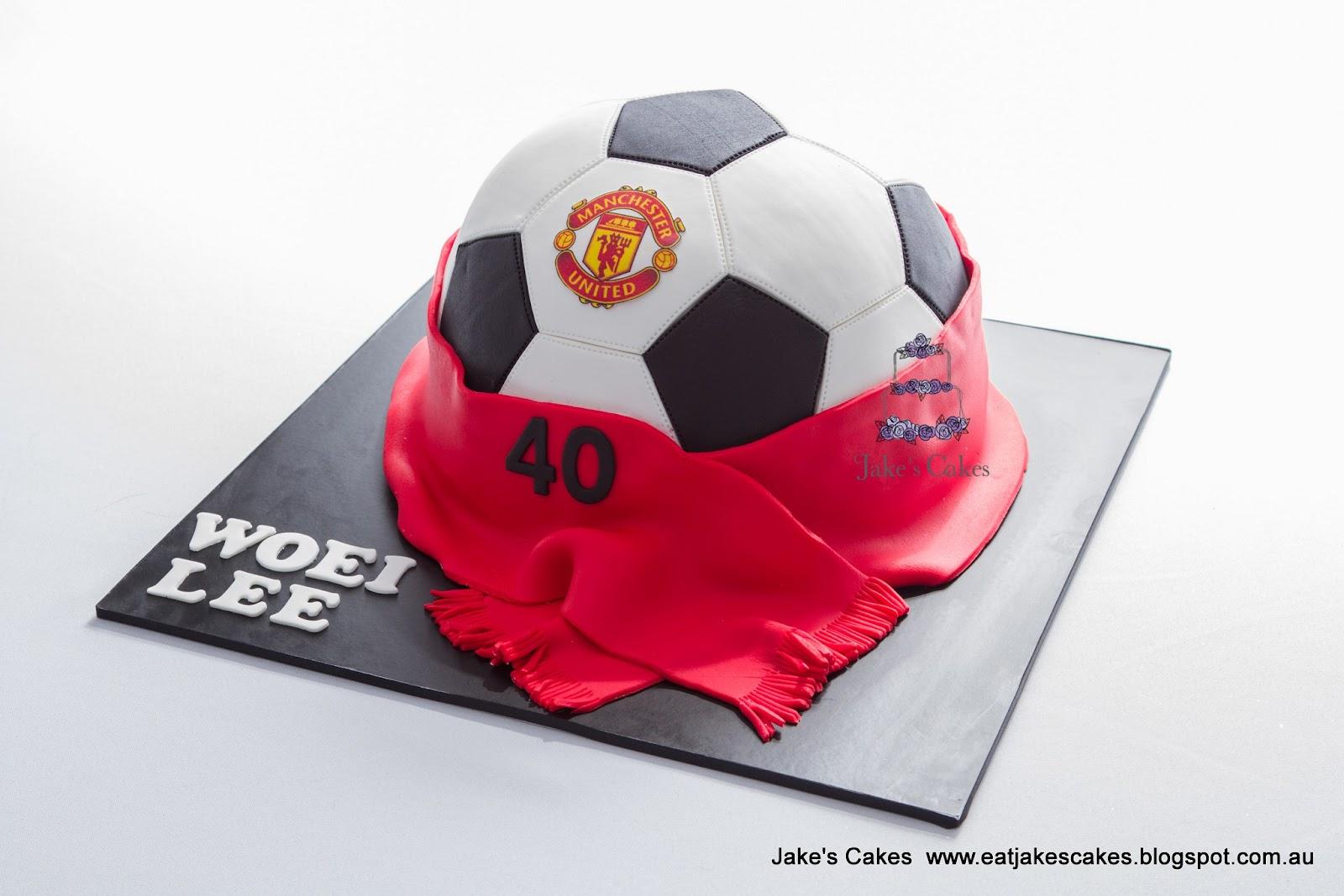 Jakes Cakes Manchester United Soccer Ball Cake