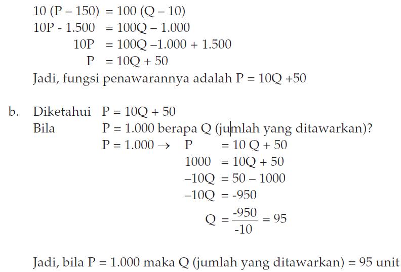 Cara Menghitung Soal Fungsi Penawaran 1