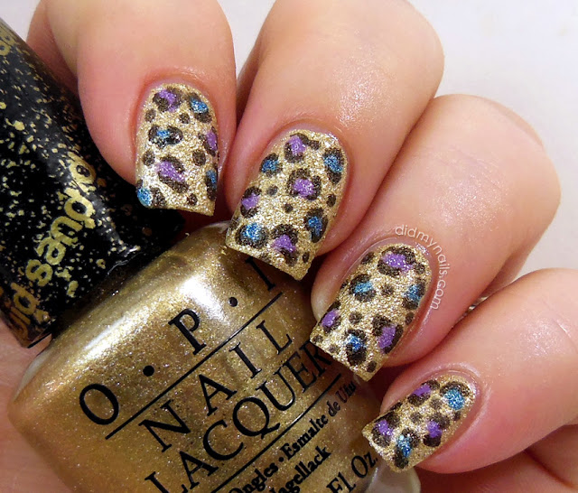 textured leopard print nails