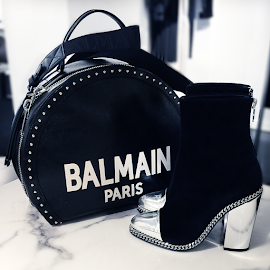 Balmain Paris Logo Studded Bag and Dax velvet-effect ankle boots.