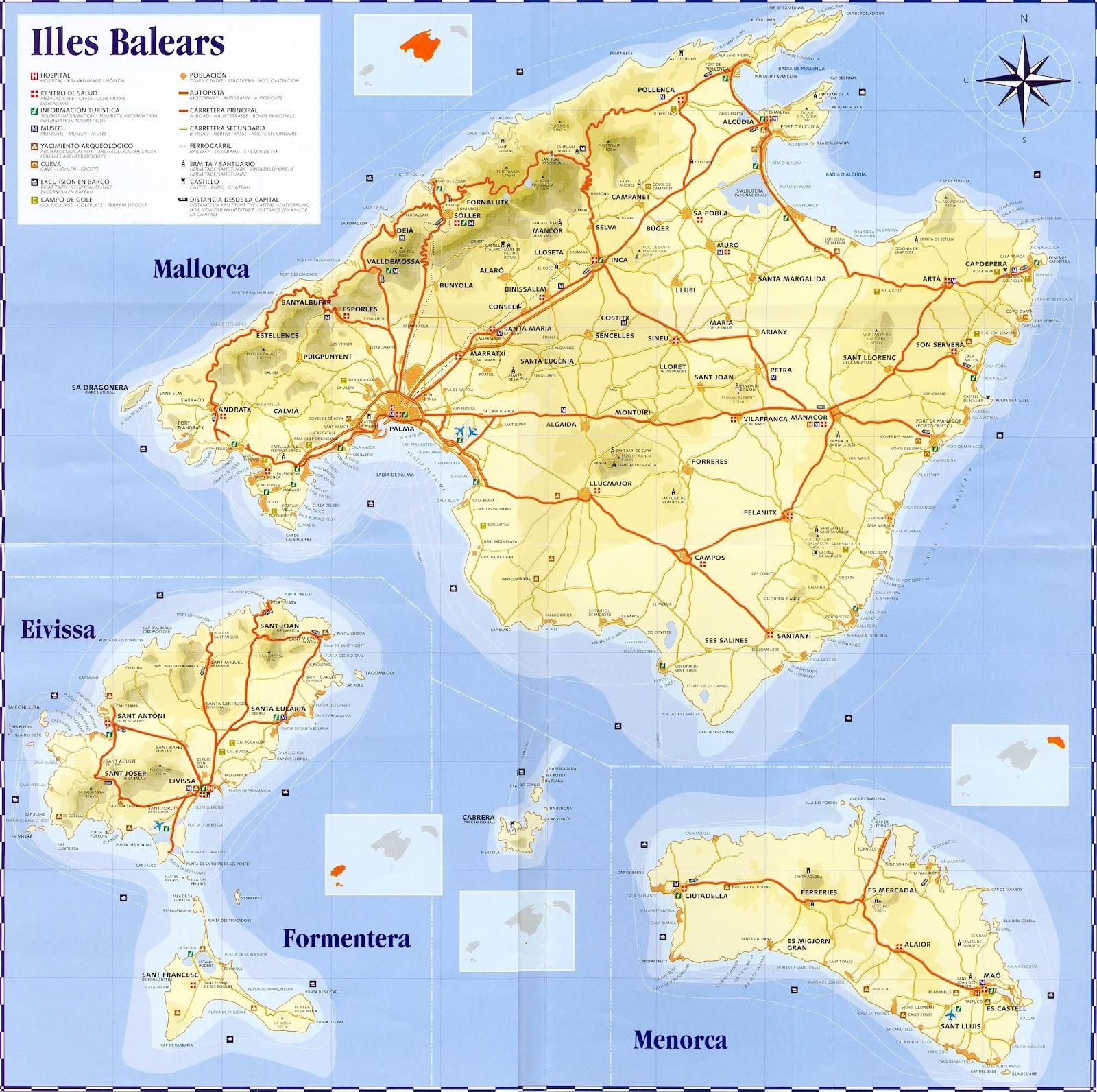 Mapa de las islas baleares - Islas de baleares ...