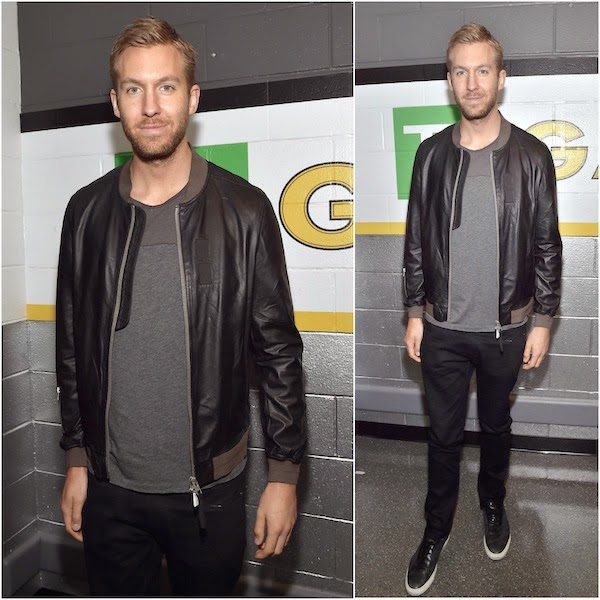 Calvin Harris wears ALLSAINTS leather bomber jacket to KISS 108's Jingle Ball 2014 14th December