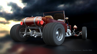 Hot Rod rear view right rendered with iray