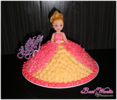 Cara Mudah Deco Kek Puteri. Cara Deco Princess Cake Simple. Deco Princess Cake Dengan Butter Cream. Cara Deco Kek Puteri / Anak Patung / Doll Yang Simple.