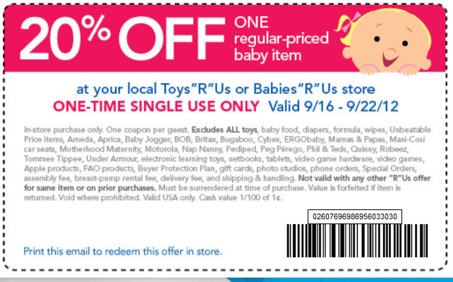 image relating to Baby R Us Printable Coupon titled On line coupon codes for infants r us 15 off - Feet significance lodge