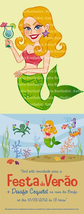 Ilustração e convite para a Festa de Verão