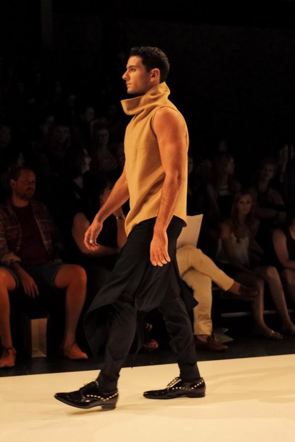 David Zheng; cowl neck sleeveless top with black skirt over black pants  - Menswear : Raffles Graduate Fashion Parade 2013 Photography by Kent Johnson.