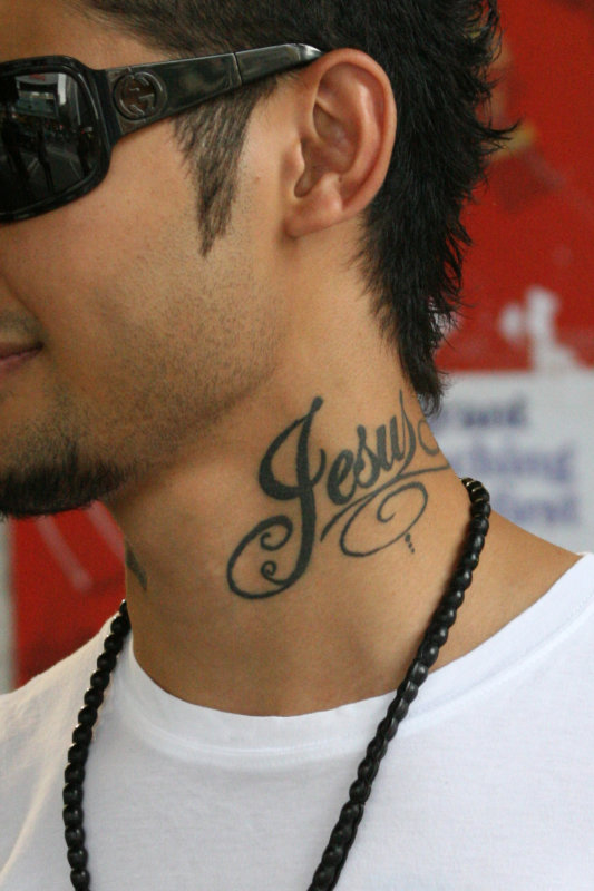 Name tattoos designs for neck