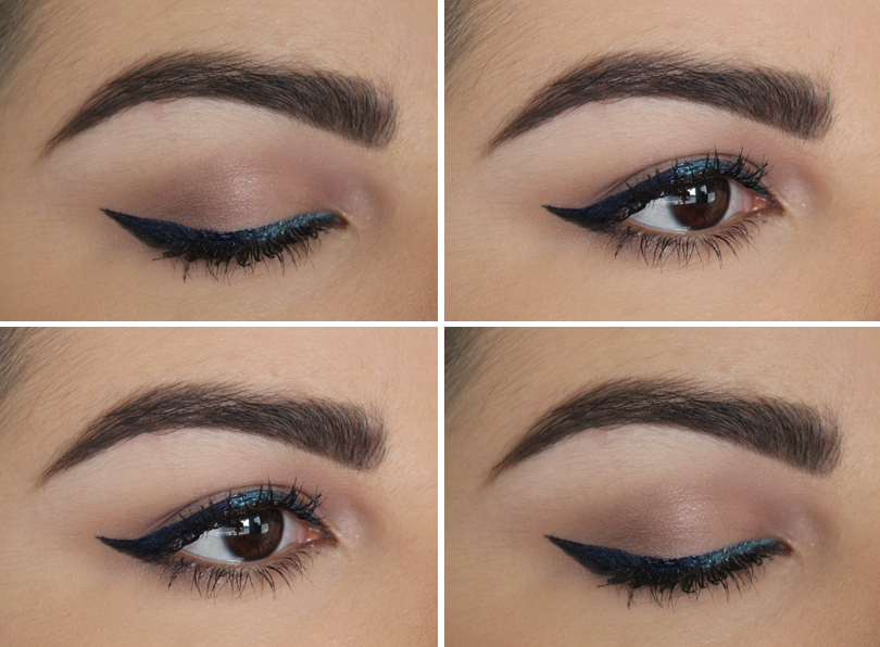 ombre liquid eyeliner teal navy black urban decay sabbath siren makeup look fotd