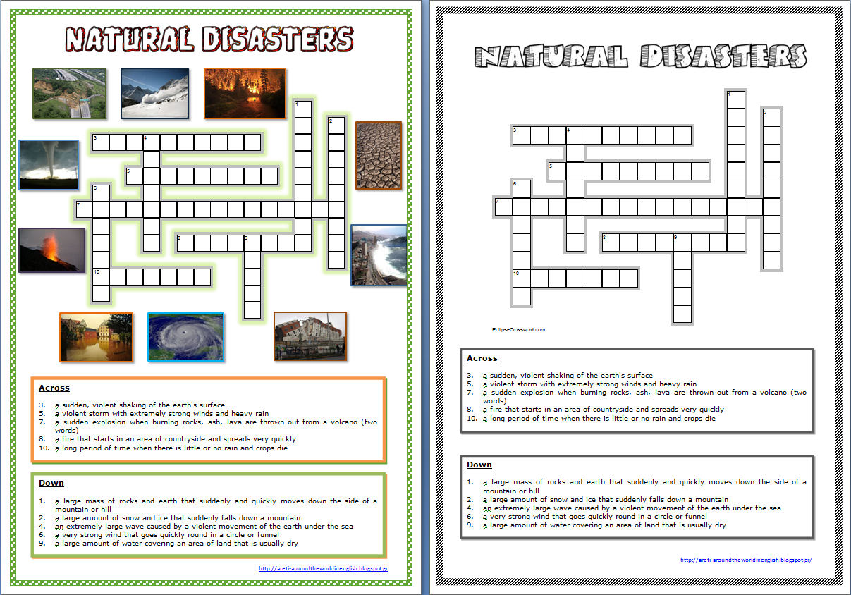 worksheet Earthquakes Worksheet around the world in english natural disasters quizlet word crossword puzzle worksheet