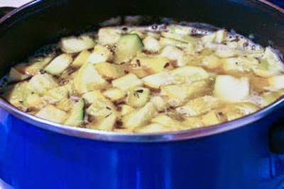 squash simmering - Zucchini and Yellow Squash Soup with Rosemary and Parmesan (Pressure Cooker or Stovetop) found on KalynsKitchen.com