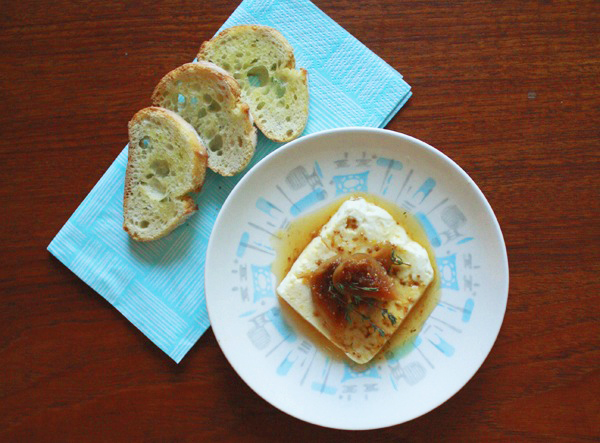 Oh So Lovely Vintage: Baked feta with fig & thyme compote.
