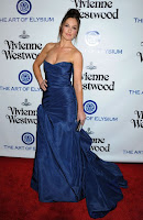 Minka Kelly n a blue strapless dress at The Art of Elysium 2016 HEAVEN Gala red carpet photo
