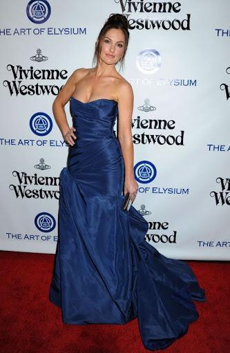 Minka Kelly n a blue strapless dress at The Art of Elysium 2016 HEAVEN Gala red carpet photo