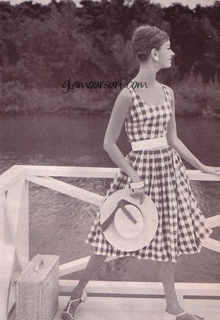 1950s plaid summer dress sleeveless ad Just Peachy, Darling