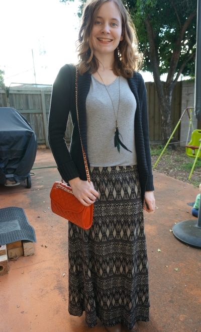 Away From Blue Aztec print maxi skirt grey tee red Rebecca Minkoff crossbody bag