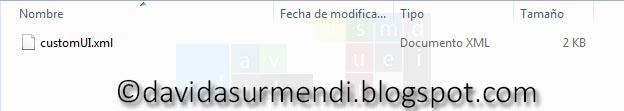 Archivo XML de personalización de la Cinta de Opciones