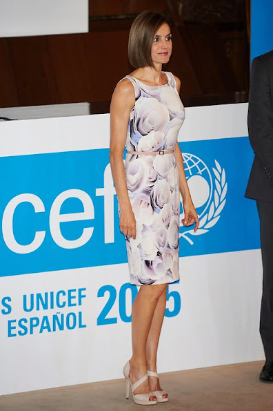 Queen Letizia of Spain deliveries 2015 UNICEF Award to Queen Sofia at CSIC headquaters