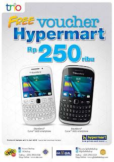 Voucher Hypermart Rp 250.000 untuk Pembelian BlackBerry 9220 dan 9320 di OkeShop