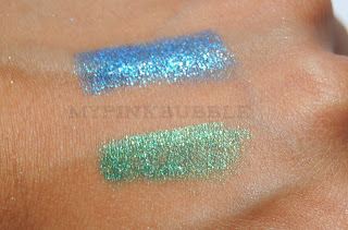 Isadora Twist up metallic eye pen 49 Blue Hawaii y 50 green paradise swatches
