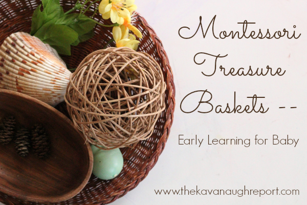 baby school, nature, montessori for baby, treasure basket