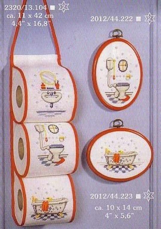 Hobby lavori femminili - ricamo - uncinetto - maglia: schema punto a croce per il bagno porta rotoli