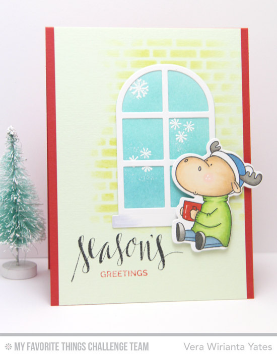 Toasty Moose Card by Vera Wirianta Yates featuring the Hand Lettered Holiday stamp set, Birdie Brown Merry Christmoose stamp set and Die-namics, and the Boutique Window Die-namics #mftstamps