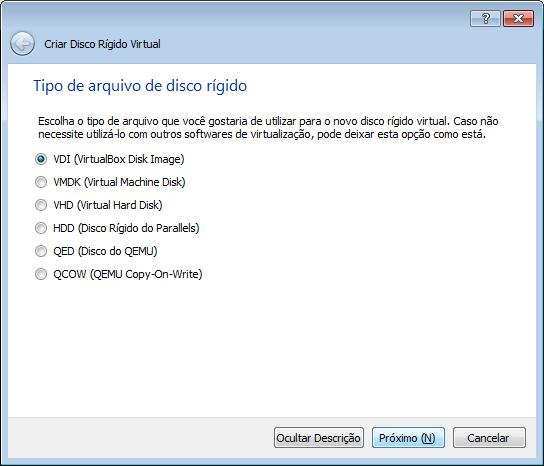 tipo de armazenamento disco rigido virtualbox