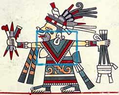 Mujer con un quechquemitl en un codice.