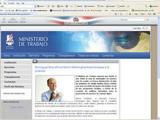 Portal del Ministerio de Trabajo promueve a Danilo