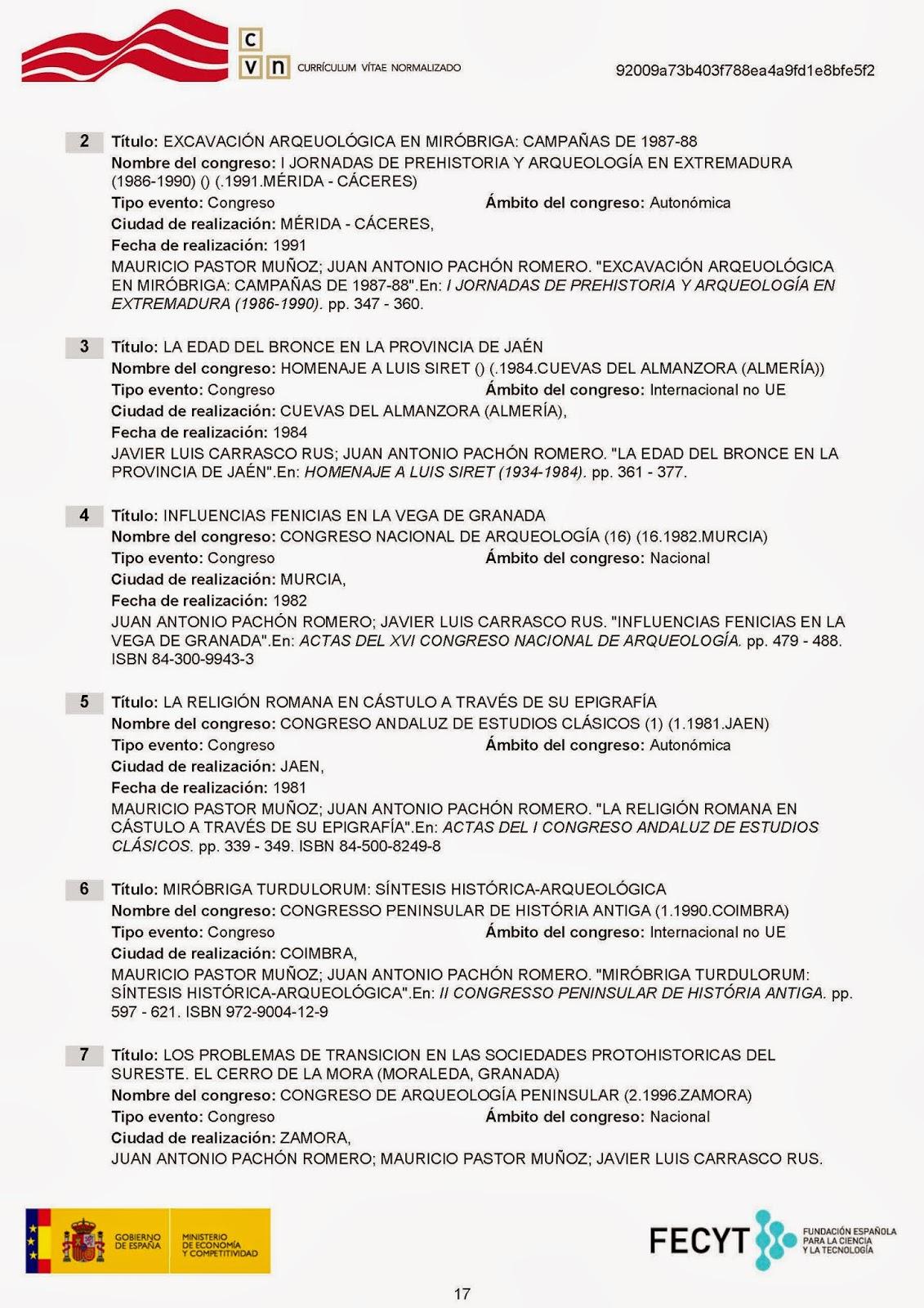 DE ARQUEOLOGÍA Y PATRIMONIO (Granada y Andalucía): CURRÍCULUM VITAE