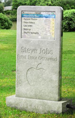 an ipod shaped gravestone for Steve Jobs