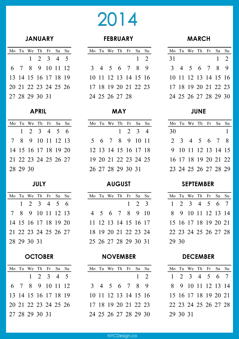 2014 Calendar Printable - Green, Red, Purple, Blue, Navy Blue