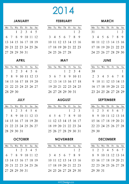 2014 Calendar Printable - Green, Red, Purple, Blue, Navy Blue