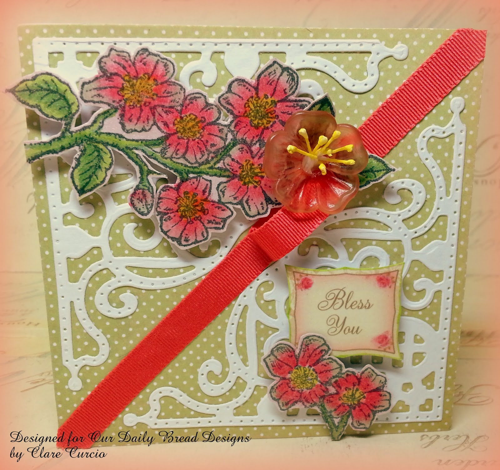 Stamps - Our Daily Bread Designs Cherry Blossom stamp set along with the ODBD Custom Decorative Corners Dies and ODBD Blushing Rose Paper Collection.