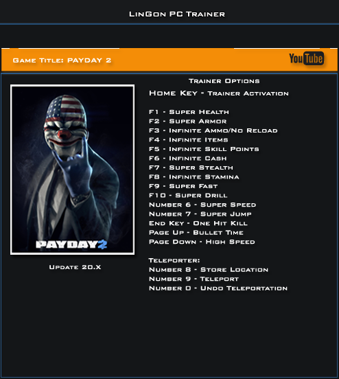 Payday 2 Update 20 Trainer +17 [LinGon]