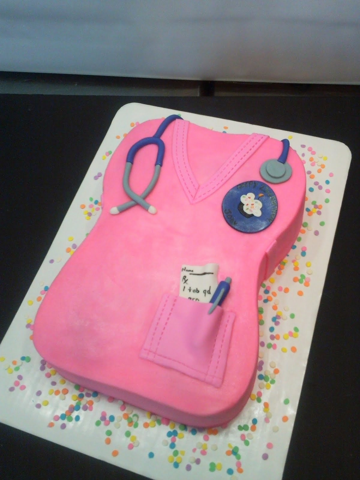 Nurse Scrubs Sculpted Birthday Cake