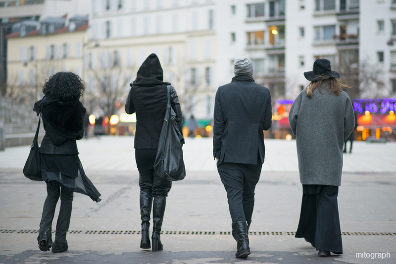 mitograph Julie Pelipas And Three Guys After Rick Owens Show Paris Fashion Week 2013 2014 Fall Winter Street Style Shimpei Mito