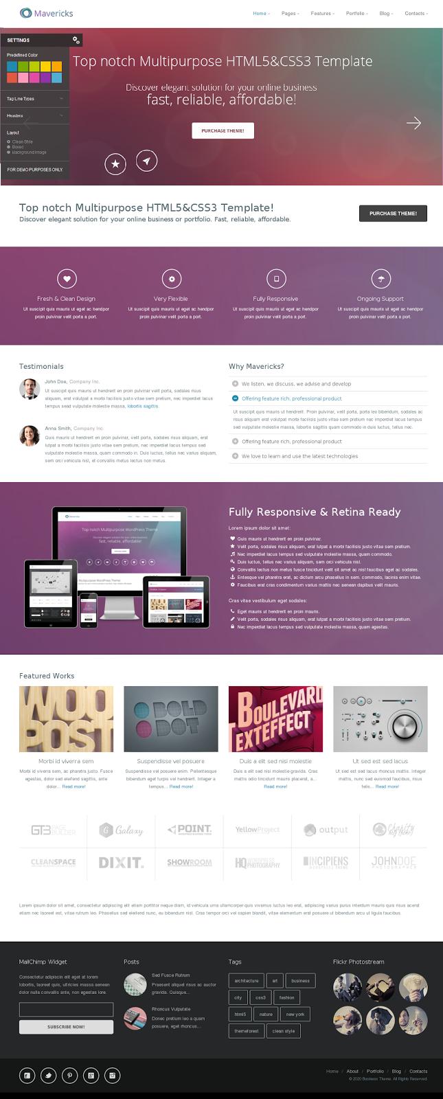 Responsive HTML Portfolio Theme 2014