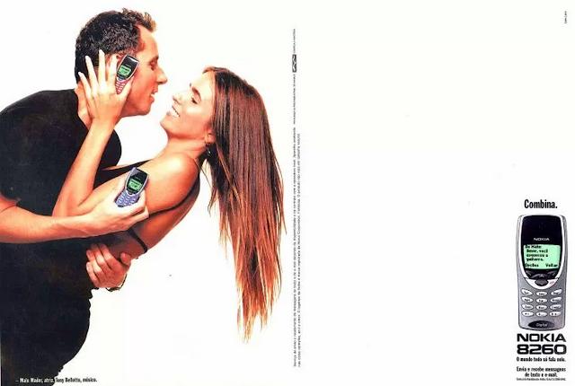 Propaganda do Nokia 8260 com Tony Bellotto e Malu Mader em 1999.