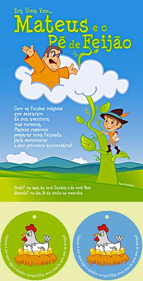 Mateus e o Pé de Feijão: ilustração, convite, livreto para colorir e etiquetas