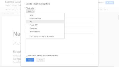 Poslat dokument Google emailem jako PDF