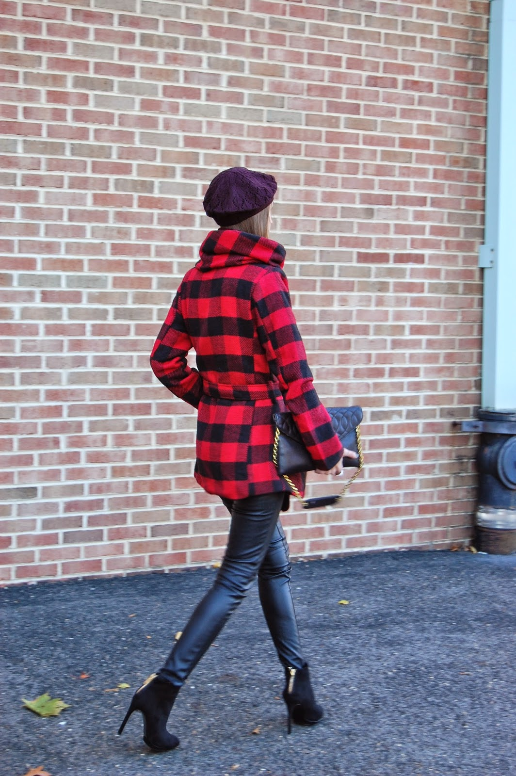 Wearing Target Mossimo Supply Co Junior's Faux Wool Wrap Jacket Maroon, Zara black suede platform boots, H&M imitation leather skinny jeans